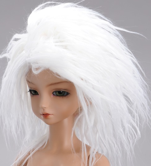 (7 - 8) Mohair Long Style Wig - White