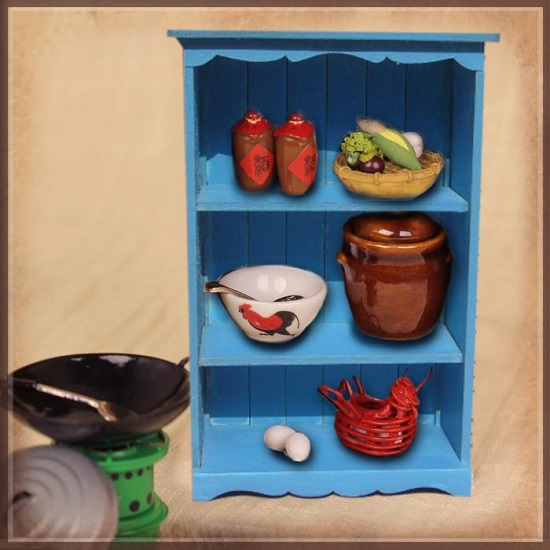 Cooking Utensil Set with Blue Cabinet