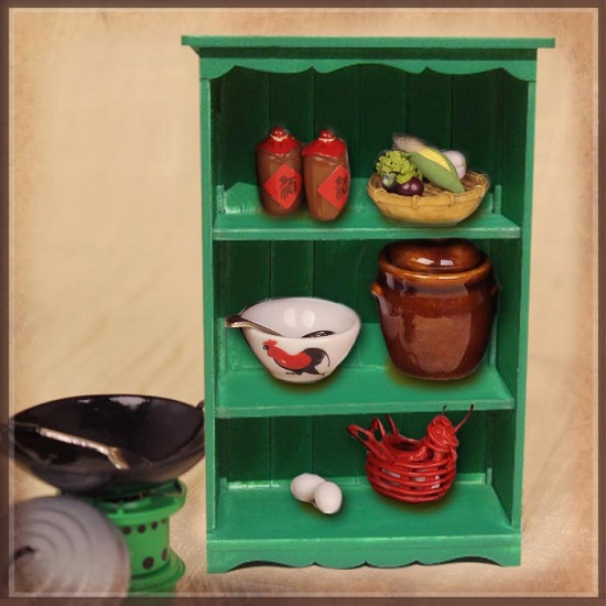 Cooking Utensil Set with Green Cabinet