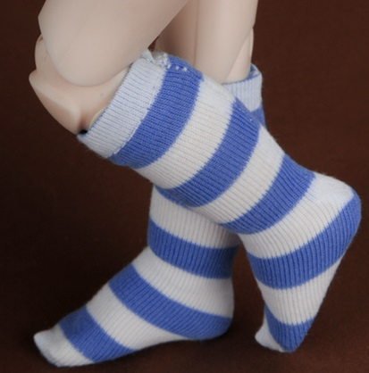 Dear Doll Size - SMK Striped Knee Socks (Aqua Blue)