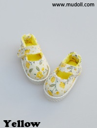 Fabric Mary Janes (35mm) - Yellow Flower