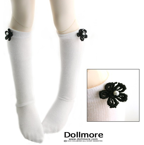 MSD - Flower Knee Stockings (White)