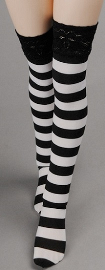 MSD - Rropia Striped Band Stockings (BW)