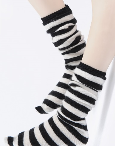 MSD - Striped Middle Knee Stockings (B&W)