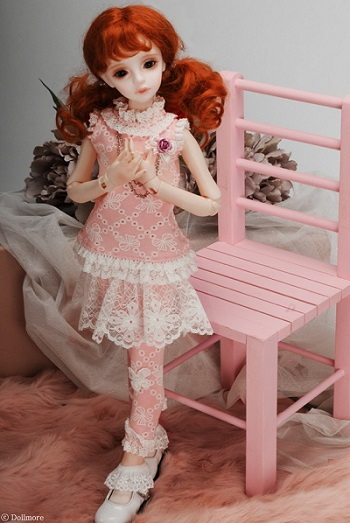 MSD Size - Jenny Dress Set (Coral Pink)