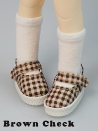 Fabric Mary Janes (35mm) - Brown Check