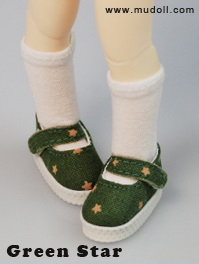 Fabric Mary Janes (35mm) - Green Star