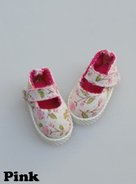 Fabric Mary Janes (35mm) - Pink Flower