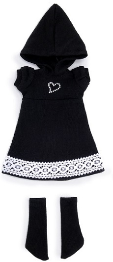 Narsha Size - Heart Gem One-piece Set (Black)