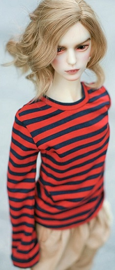 Red & Navy Stripe Long Sleeve Top