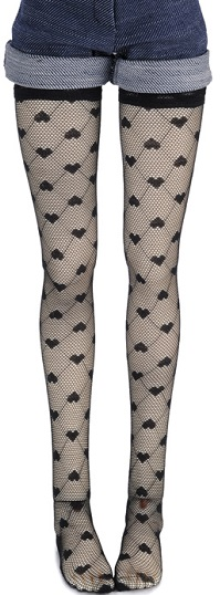 SD - Heart Ami Band Stockings (Black)