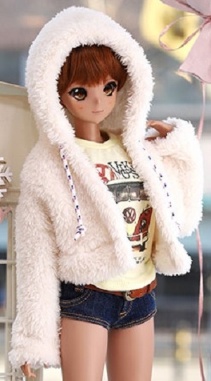 SD13 Girl & Smart Doll Bear Hooded Fur Jacket - White