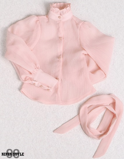 SDG Puff Sleeve See-Through Blouse (Salmon Pink)