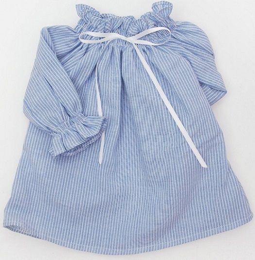 SDG Smocking Open Shoulder Blouse (Blue)