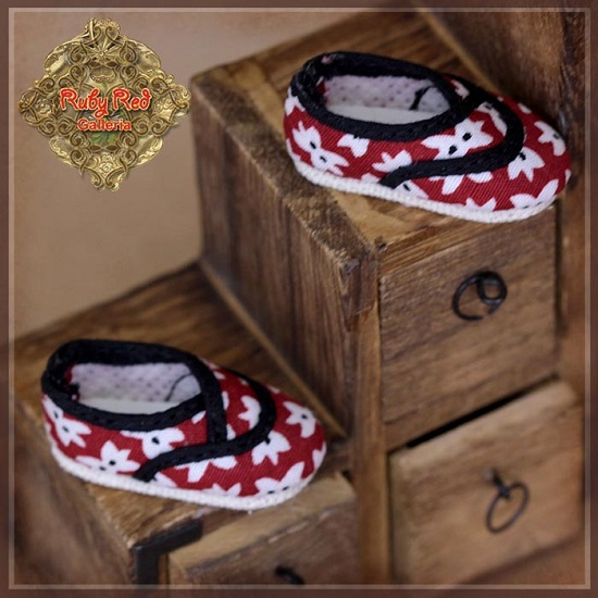 Ten Ping Red with White Printed Flowers SHoes